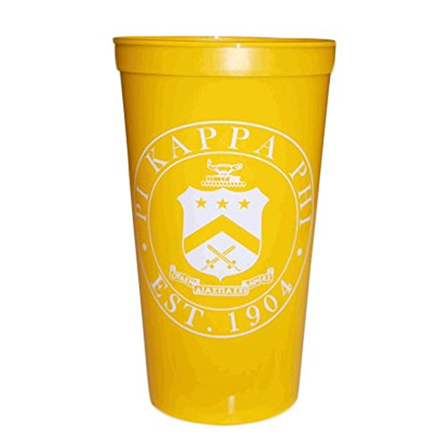 Greekgear Pi Kappa Phi Yellow Plastic Stadium Cups, Set of 6 ? Large Cups Will Promote Fraternity?s Name, 32-Ounce Size