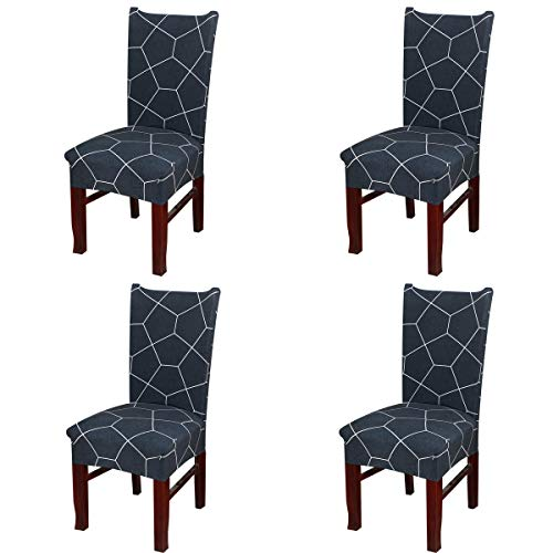 Vonty Geometric Pattern Stretchy Dining Chair Covers Floral Removable Chair Slipcover Protector Set of 4, Water Cube