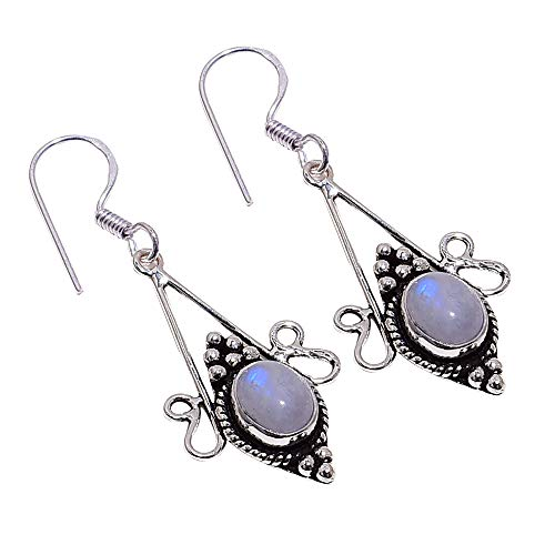 Fire Moonstone Earrings - SilverArt Handmade Earring Moonstone 925 Sterling Silver Plated Jewelry for Womens and Girls