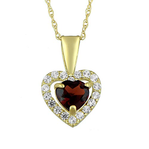 - Jewelili 10kt Yellow Gold 5mm Heart Garnet and Round Created White Sapphire Halo Pendant Necklace, 18