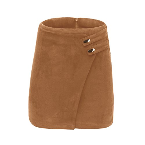 VKOOVIFA Women's High Waist Faux Suede Zipper Back A-Line Bodycon Short Mini Skirts Brown Small.