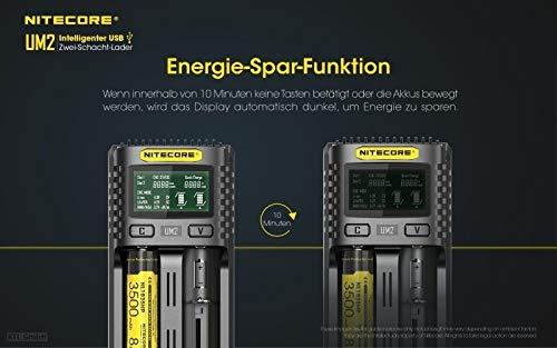 Li-Ion//Ni-MH//Ni-Cd//IMR 26650 22650 21700 20700 18650 18490 18350 17670 17500 17335 16340 RCR123 14500 10440 AA AAA AAAA Cargador de Pilas Recargables USB Carga Inteligente Universal Nitecore UM2