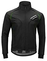 ROCKBROS Cycling Jacket Men's Winter Thermal Long Sleeve Jersey Windproof Coat Softshell Black Green