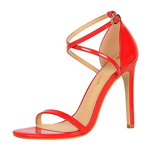 Drew Toby Women High Heels Sexy Cross-Strap Buckle Party Patent Leather Open Toe -