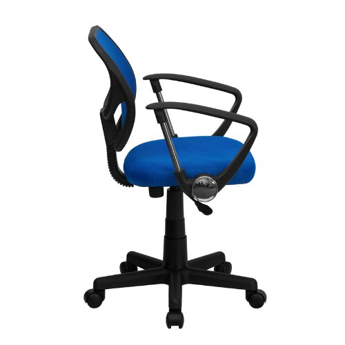 StarSun Depot Mid-Back Blue Mesh Swivel Task Chair with Curved Square Back and Arms 21.5'' W x 22.5'' D x 30.5'' - 34.5'' H
