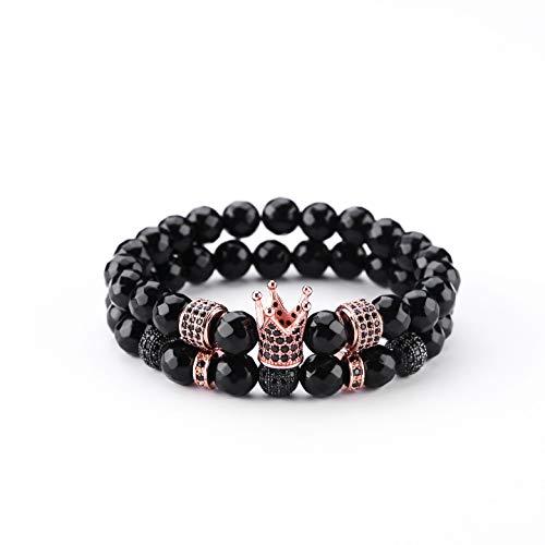 Stone Multi Charm (KAMRESH 8mm Black Onyx Stone Beads Charm Crown Bracelet for Men Women Multi-Section)