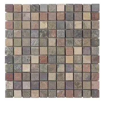 Jeffrey Court Tumbled Mixed Slate 12 in. x 12 in. Mesh-Mounted Mosaic Tile (10 s/f, 10 pcs. per case) - Slate Mosaic Tiles
