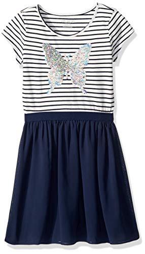 The Children's Place Big Girls' Short Sleeve Knit Dress, Tidal, XXL(16)