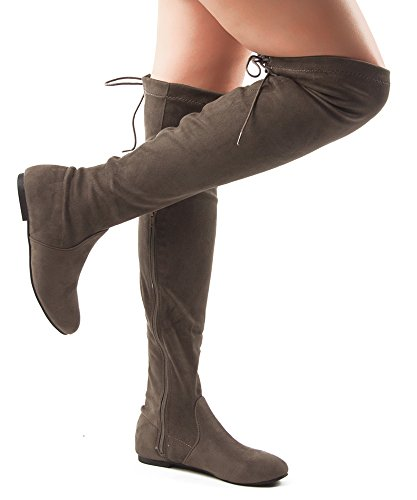 ROF Women Fashion Comfy Vegan Suede Side Zipper Over the Knee Boots TAUPE (Flat Over The Knee Boots)