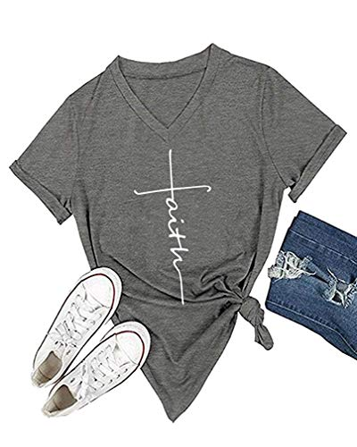Cross Womens V-neck T-shirt - Qrupoad Women V-Neck Cross Faith T Shirt Short Sleeve Graphic Tees Christian Easter Shirts for Religious Gift