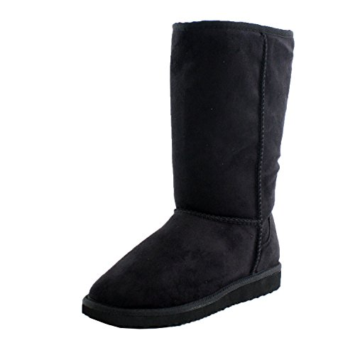 Black Furry Winter Boots Vegan Fleece Women (5.5) (Cheap Cowgirl Boots Under 20)