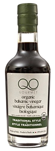 QO Gourmet Balsamic Vinegar of Modena | High Density USDA Certified ORGANIC Traditional Style | Aged in Wooden Barrels | 250ml/8.5 fl.oz. | Produced & Bottled in Modena, Italy