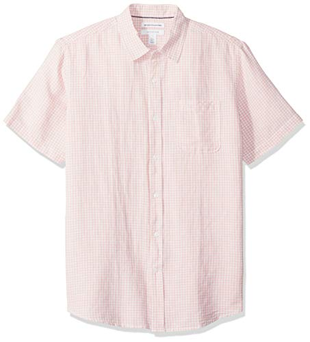 Amazon Essentials Men's Regular-Fit Short-Sleeve Gingham Linen
