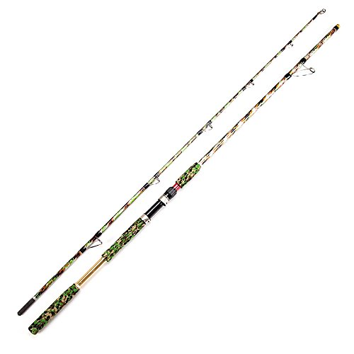 Robson Spinning Fishing Rod Carbon Fiber Travel Jigging Rods with Case for Bass 2-Piece Lightweight Extra Heavy Portable Fishing Pole Camouflage Design Salt/Fresh Water (2.4m/7.9FT)