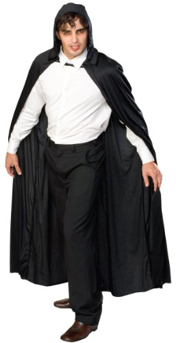 Black Adult Costumes Cape (Rubie's Costume Full Length Hooded Cape Role Play Costume, Black, One Size)