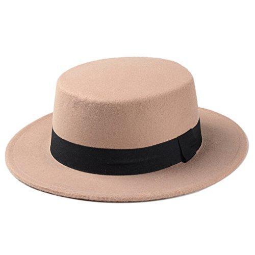 Elee Women Boater Hat Bowler Sailor Wide Brim Flat Top Caps Wool Blend (Felt Top Female Hat)