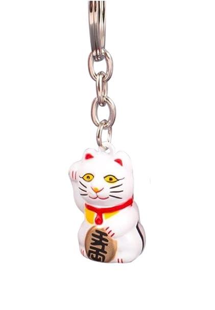 Pamai Pai® Llavero Blanco Gato de la Suerte Maneki Neko Gato ...