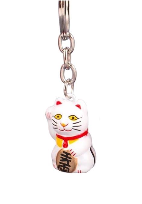 Pamai Pai® Llavero Blanco Gato de la Suerte Maneki Neko Gato de Gato Suerte Colgante