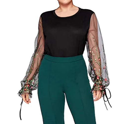 Plus Size Women Shirts,2019 New Casual Lace Mesh Patchwork Sleeve T-Shirt Tunic Tops Blouse (XXL, Black)