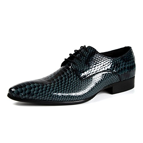 HWF Scarpe Uomo in Pelle Scarpe da uomo in pelle a punta stile britannico Business Formal Wear Bright Single Shoes (Colore : Nero, dimensioni : EU38/UK5.5) Royal Blue