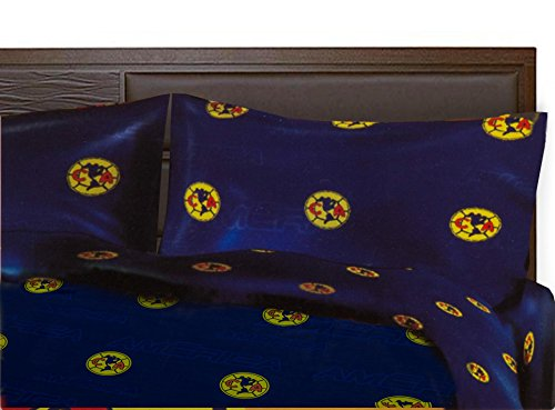 Club America Soccer Team Luxury Queen Sheet 4 piece set Blue Featuring Team Logo