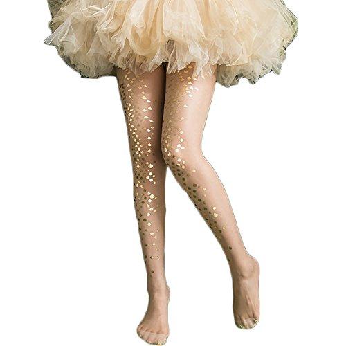 Lurex Gold Tights (Magical Mermaid Socks - Women's Girls Mermaid Fish Scale Sparkling Tights Legging Pantyhose Stockings)