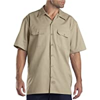 Camisa de trabajo de manga corta grande y alta para hombre de Dickies, color caqui, grande