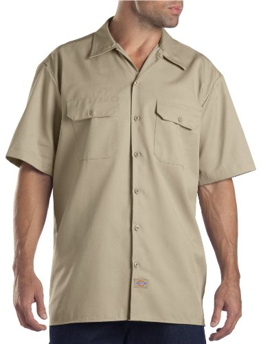Dickies Men's Big and Tall Short Sleeve Work Shirt, Khaki, Large -