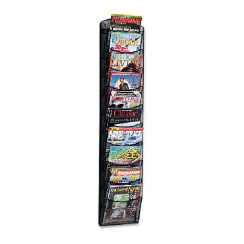 Safco 5579BL Onyx Mesh Literature Rack Ten Compartments 10-1/4w x 3-1/2d x 50-3/4h Black ()