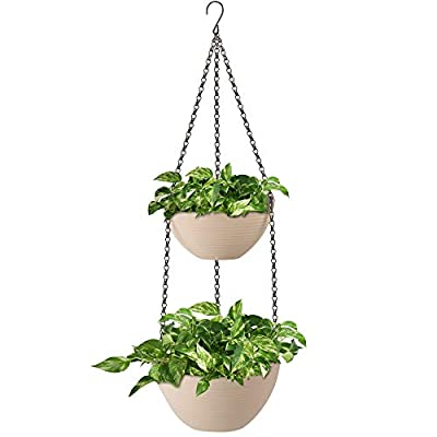 Amazing Creation 2-Tiered Hanging Planter Flowerpot for Indoor and Outdoor Plants, Decorative Hanging Garden Planter Pots for House, Porch, Balcony, Deck and Patio Displays, Supports Ferns and Flowers: Garden & Outdoor