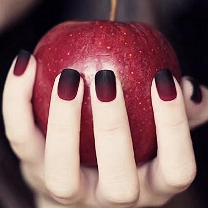 Uñas postizas con 12 tamaños diferentes y diseño navideño, de color negro y rojo mate manzana, diseño de cuento de hadas (24 unidades)
