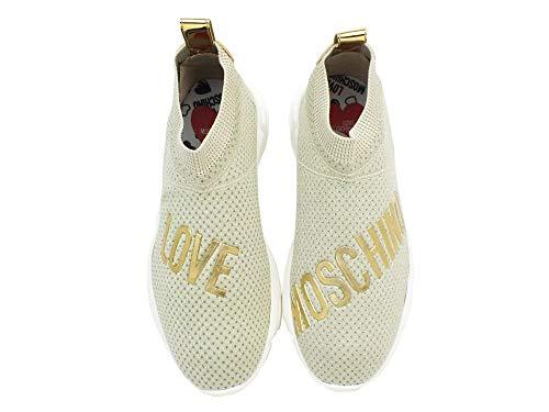 Running Logo Sneaker Plati Tessuto Love Moschino Elastico Ja15223g17i nXzFqRp