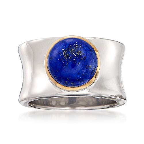 (Ross-Simons Lapis Cabochon Ring in 14kt Yellow Gold and Sterling Silver)
