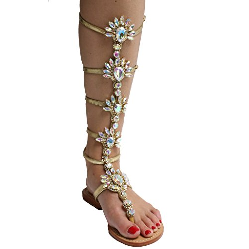 azmodo Shining Rhinestones Thong Flat Sandals Gold Color A 90-1 6whkIw7