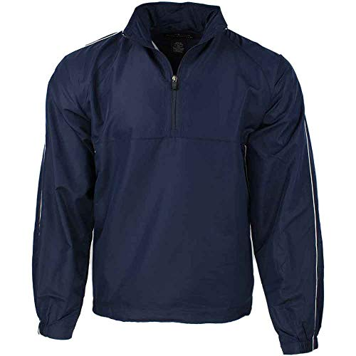 PAGE & TUTTLE Mens Piped Quarter Zip Windshirt Golf Athletic Outerwear Windbreaker Navy M