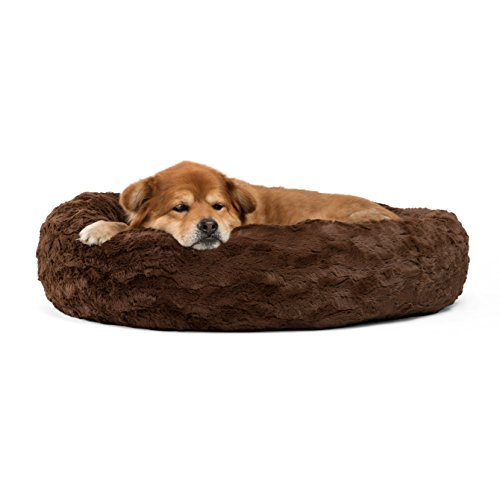 Best Friends by Sheri Luxury Faux Fur Donut Cuddler (30x30), Dark Chocolate - Small Round Donut Cat and Dog Cushion Bed, Orthopedic Relief by Best Friends by Sheri