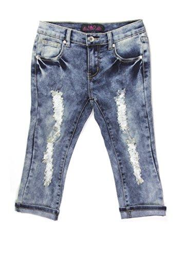 Girls Denim Capri Pants (Lavo Girls Super Soft Stretch Fashion Capri Jeans With Rips tears & Whiskers Bleached Denim Size 8)