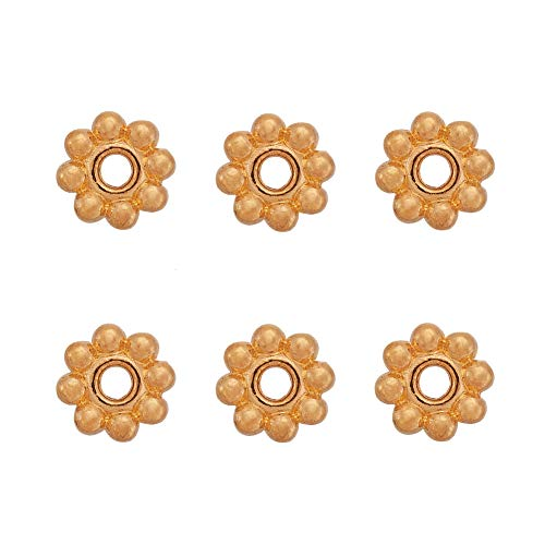 Craftdady 300Pcs Golden Daisy Flower Alloy Spacer Beads 5x1.5mm Metal Snowflake Charm Beads for DIY Jewelry Craft Making