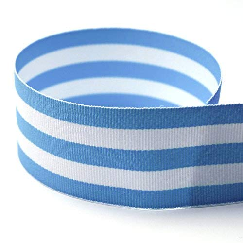 """USA Made 1-1/2"""" Baby Blue & White Taffy Striped Grosgrain Ribbon - 20 Yards - (Multiple Widths & Yardages Available)"""