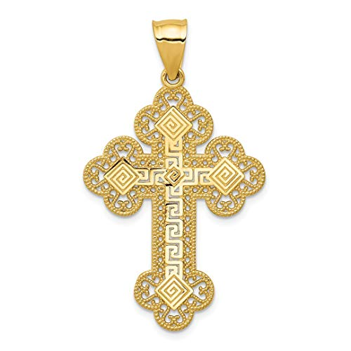 ICE CARATS 14kt Yellow Gold Budded Greek Key Cross Religious Pendant Charm Necklace Fine Jewelry Ideal Gifts For Women Gift Set From Heart