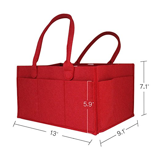 - Ceewa Baby Diaper Caddy - Car Organizer and Nursery Storage bin for Baby's Essentials with Changeable Compartments Large Red