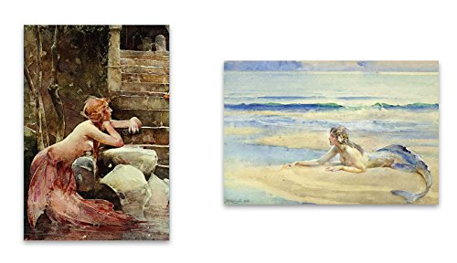 """Vintage Watercolor Fantastic Mermaid Magnet Set - 2""""x3"""" Magnets featuring Watercolour Mermaids for Kitchen Art, Office Decor, Gift for Girls, Boys, Kids, Men & Women - Made in USA"""