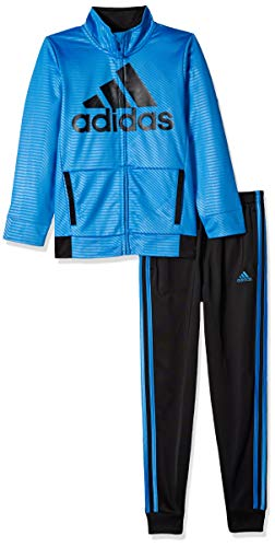 adidas Boys' Little BOS Tricot Jogger Tracksuit 2-Piece Set, Block Adi Dark Blue 4