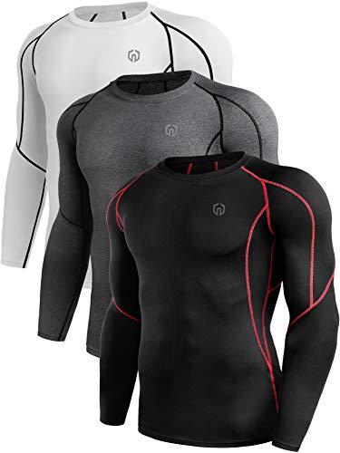 Neleus Men's 3 Pack Compression Workout Long Sleeve Shirts,5030,Black (Red Stripe),Grey,White,US L,EU XL