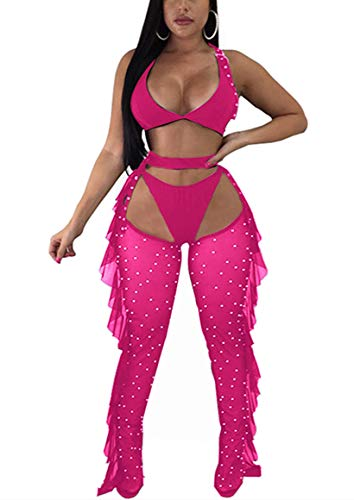 - Yeshire Women's Sexy 2 Pieces Outfit See Through Crop Top and Pants Sets Mesh Backless Jumpsuits Clubwear Medium Rose