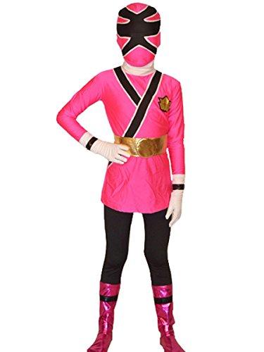 Wraith of East Power Rangers Costume Kids Cosplay Halloween Spandex Zentai (Medium, Pink) -