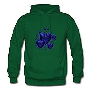 Ericsmith Green X-large Style Personality Many Hearts Hoodies For Women