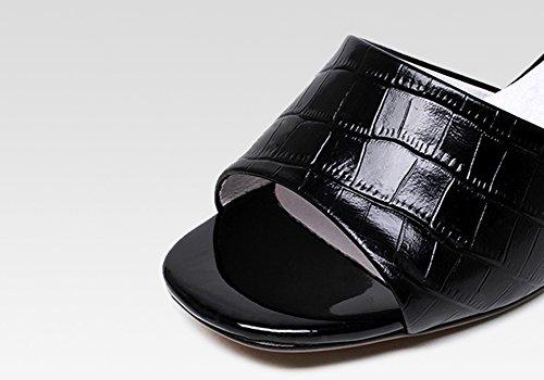 ZCJB Tamaño L UK2 Out Mujer EU35 Mujer De Color Of Medio Tacón Slippers De Tacón Sin Tacón Zapatos De Verano Sin De 22cm De Moda Negro Sandalias wwSBqx