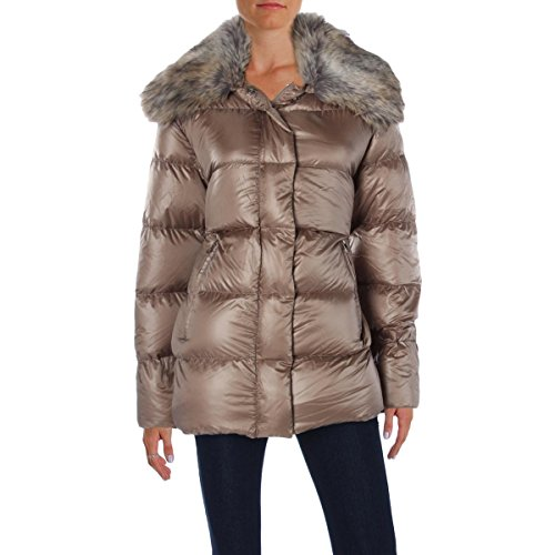 womens tan quilted coat - 1