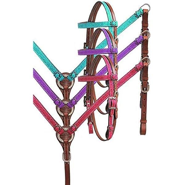 Weaver Horse Size Pink /& Purple Mosaic Nylon Headstall Breast Collar /& Reins Set